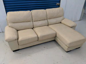 Genuine  Leather Convertible Sectional L-Shape Sofa with Chaise