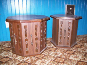 2 lovely end tables that open in the front