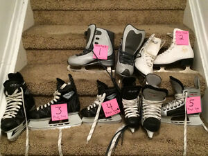 Boys and girls hockey and figure skates