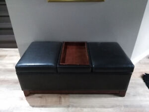 Leather ottoman with storage & serving tray