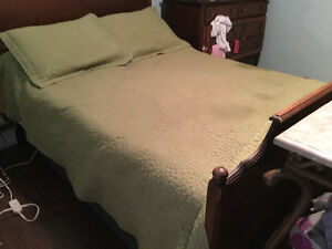 Sage green coverlet with shams