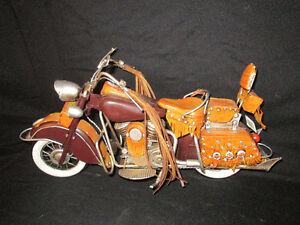 metal and leather motorcycle decor