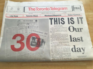 The Last Issue of the Toronto Telegram-1971