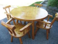 Rustic Pine Dining Table and Chairs