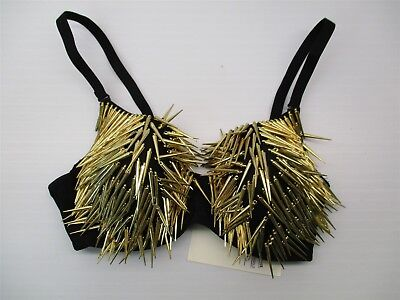 Spiked Bra (new HOT & DELICIOUS #M148 Women's Size S Demi Padded Gold Spikes Black Rave Bra)