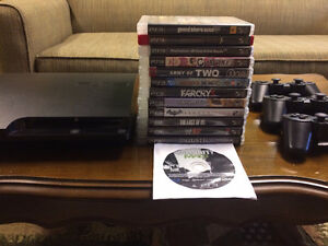 PS3 w/ 3 controllers & 13 games (GTA5, The Last of Us, etc.)