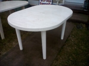 White polymer patio table