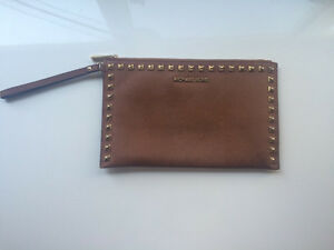 Michael Kors Tan Leather Studded Clutch
