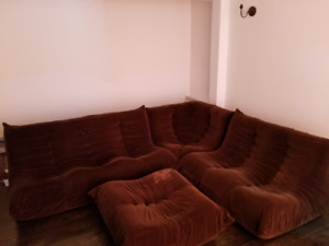 VINTAGE MINT  QUALITY LATE 70S RETRO BROWN  SECTIONAL