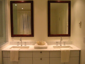 Two Burled Mahogany Custom Framed Vanity Mirrors
