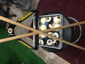 Pool balls and cues