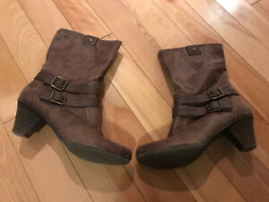 Ladies faux leather brown ankle boots
