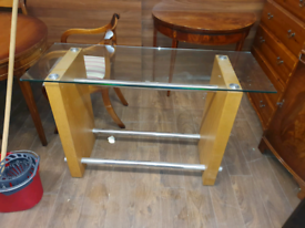 42. Oak and glass hall table