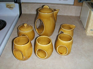 8 PIECE COFFEE SET-JAPAN-BOWL/CREAMER/POT/3 CUPS-DECO DESIGN