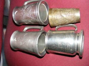PEWTER COLLECTION - 3 BEER MUGS & A TUMBLER - 1 LOT