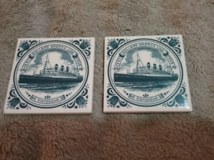 Holland America Line - 2 Delft Blue Tile Coasters with Cork Back