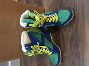 Green blue and yellow sneaker wedges from spring