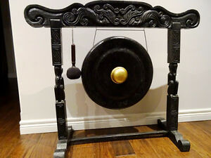 GONG carved monkeys INDONESIAN percussion ZEN meditation DECORAT