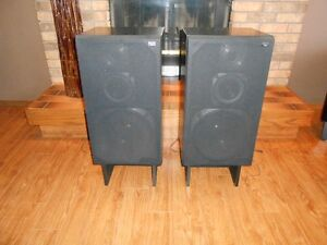 2 - Black RCA Dimensia Floor Speakers with Stands