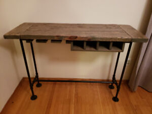 Rustic distressed console / bar table / wine rack