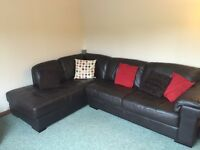 Dark brown, quality leather couch