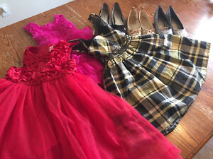 3 holiday dresses sz 4/5, 3 pairs of shoes sz 1
