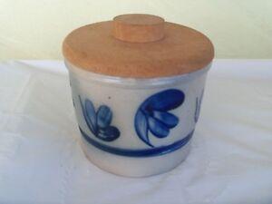 Vintage Salt Glazed Crockery Jar with Wooden Lid