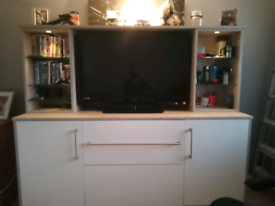 Tv cabinet with glass shelves and lights
