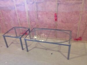 GLASS TABLE AND END TABLE! great condition!