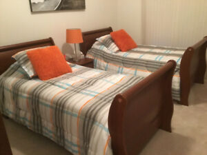 Two single sleigh beds bedroom set