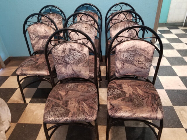 heavy metal dining room chairs with fabric seats and backs