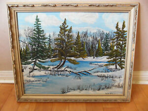Old Oil Painting on Board Signed Original Total 2 Pieces Framed