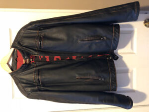 Men's large danier leather jacket