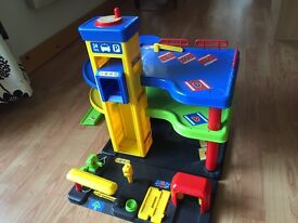2 level play garage with petrol pumps