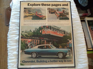 OLD CHEVY CLASSIC CAR FRAMED AD Windsor Region Ontario image 1