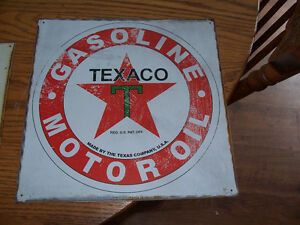Tin Texaco Sign 12 in by 12 in
