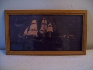 SHIP PICTURE IN LIGHT WOOD FRAME
