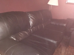 Black leather couch & love seat