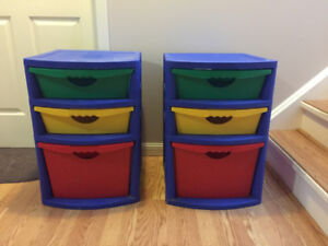 Playroom storage bin tower in primary colours