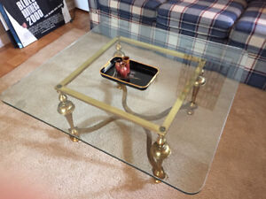 Brass glass 1970 square coffee table