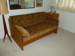 solid Teak Sofa Bed (Upholstered cushions)