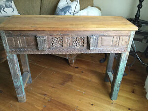 Antique reclaimed carved wood hall table
