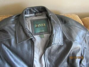 New Men's Black Leather Danier Bomber Jacket