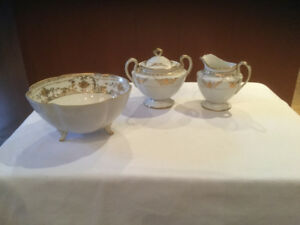 Hand painted Nippon Sugar and cream set with candy bowl