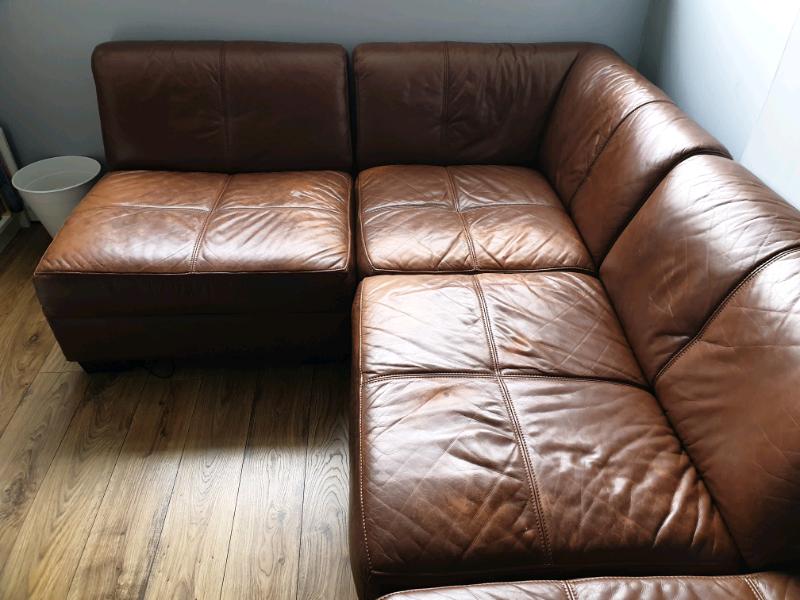 Leather Modular Corner Sofa In