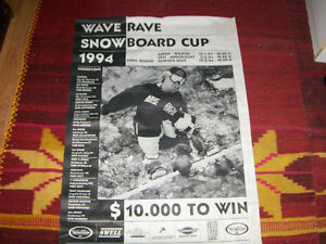 WAVE RAVE SNOWBOARD CUP 1994-VINTAGE B/W SNOWBOARDING POSTER