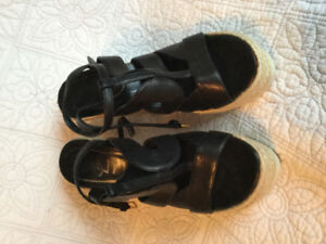YSL ladies black leather wedge sandals