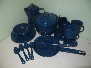 Awesome Blue Metal Camping Dishes/24 PIECES!!