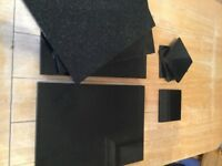Set of 4 High Quality Black Granite Placemats Table Mats