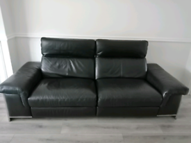 2 x 3 seat Dfs black leather electric recliners